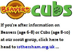 [Click for information on Beavers and Cubs at 1st Hersham]